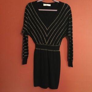 Trina Turk chevron gold sweater mini dress smal